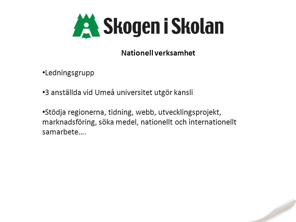 Nationell verksamhet Ledningsgrupp 3 anställda vid Umeå universitet utgör kansli Stödja regionerna, tidning, webb, utvecklingsprojekt, marknadsföring,