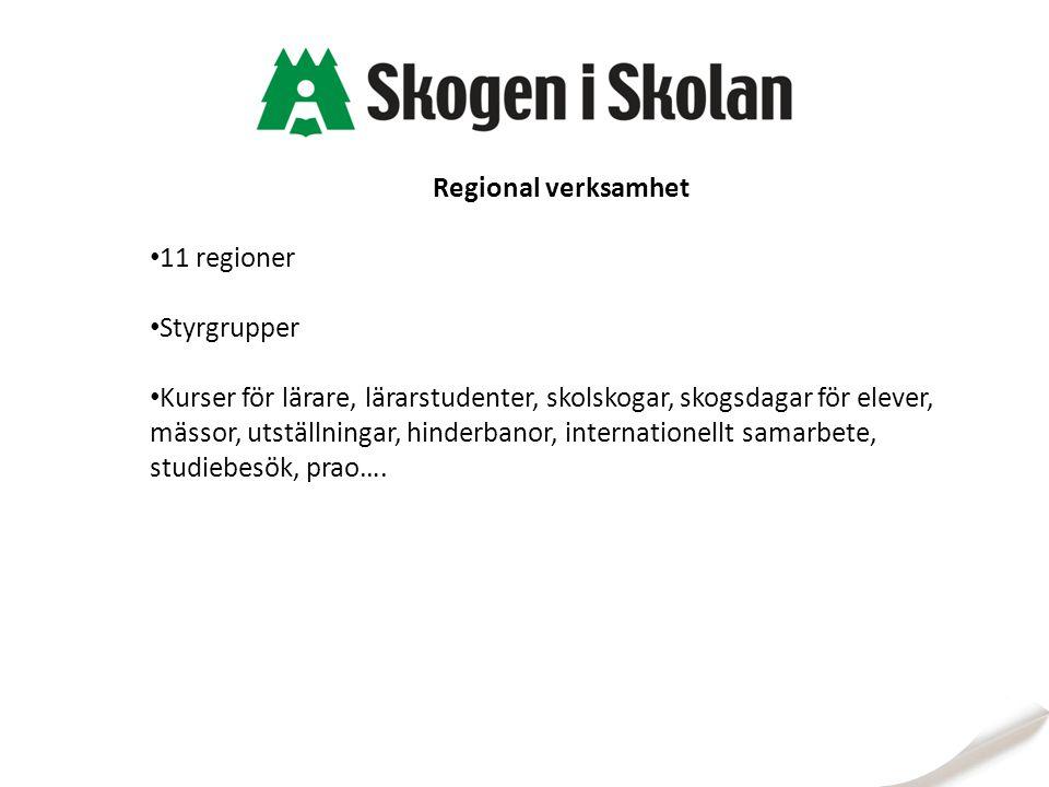 Regional verksamhet 11 regioner Styrgrupper Kurser för lärare, lärarstudenter, skolskogar, skogsdagar för elever, mässor, utställningar, hinderbanor, internationellt samarbete, studiebesök, prao….