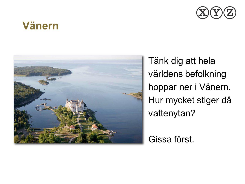 Tänk dig att hela världens befolkning hoppar ner i Vänern. Hur mycket stiger då vattenytan? Gissa först. WWW.MATEMATIKBOKENXYZ.SE Vänern