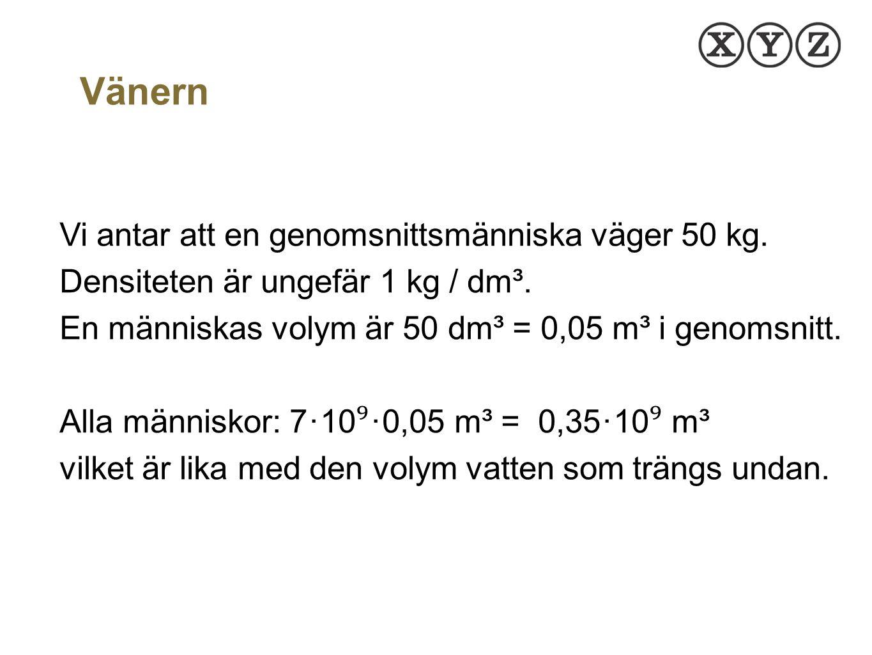 Undanträngd volym: 0,35 ∙ 10 ⁹ m³ Vänerns area: 6 ∙ 10 ⁹ m² V = B ∙ h 0,35 ∙ 10 ⁹ = 6 ∙ 10 ⁹ ∙ h h ≈ 0,06 m Ytan stiger alltså med ca 6 cm.