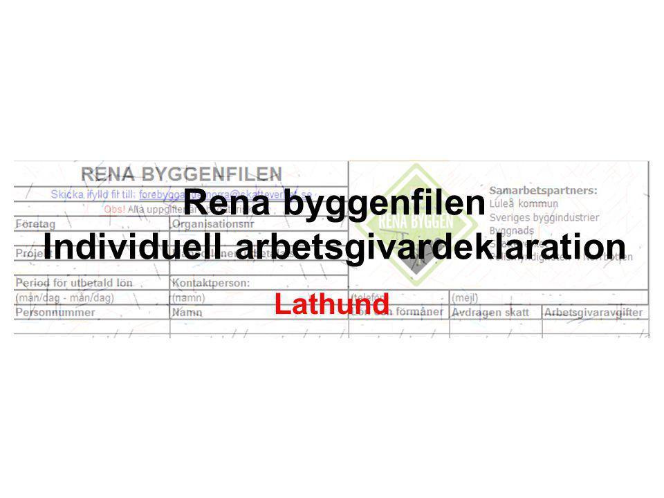Rena byggenfilen Individuell arbetsgivardeklaration Lathund