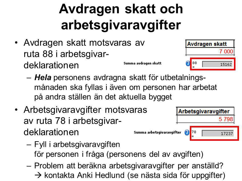 Kontaktpersoner Frågor om Skatteverkets del i projektet Rena byggen Luleå –Anki Hedlund, 010-573 88 56, anki.hedlund@skatteverket.se –Josefin Heino, 010-574 59 79, josefin.heino@skatteverket.se –forebyggande.norra@skatteverket.se Frågor om Rena byggenfilen –Anki Hedlund Frågor om löner och förmåner –Ulla-Stina Sundström, ulla-stina.sundstrom@skatteverket.se