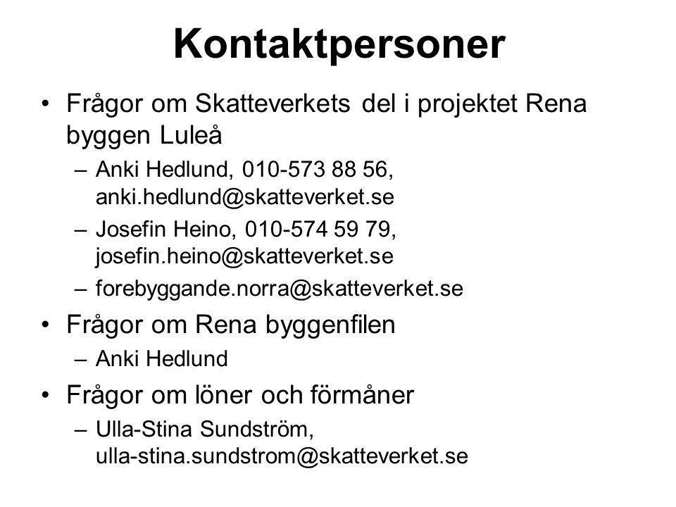 Kontaktpersoner Frågor om Skatteverkets del i projektet Rena byggen Luleå –Anki Hedlund, 010-573 88 56, anki.hedlund@skatteverket.se –Josefin Heino, 0