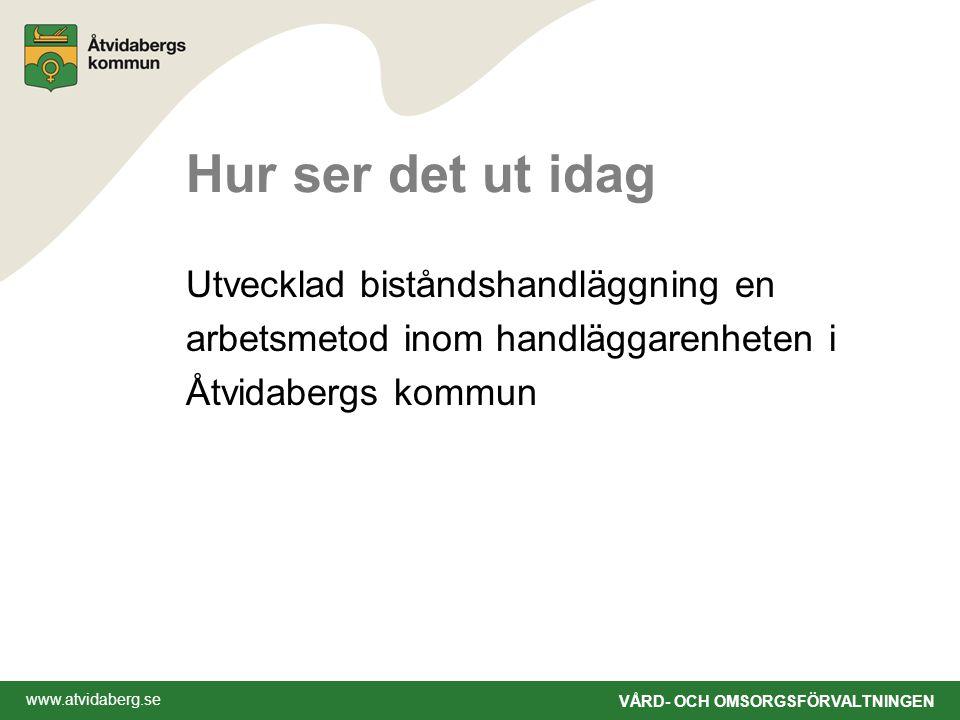 www.atvidaberg.se VÅRD- OCH OMSORGSFÖRVALTNINGEN Hur ser det ut idag Utvecklad biståndshandläggning en arbetsmetod inom handläggarenheten i Åtvidabergs kommun