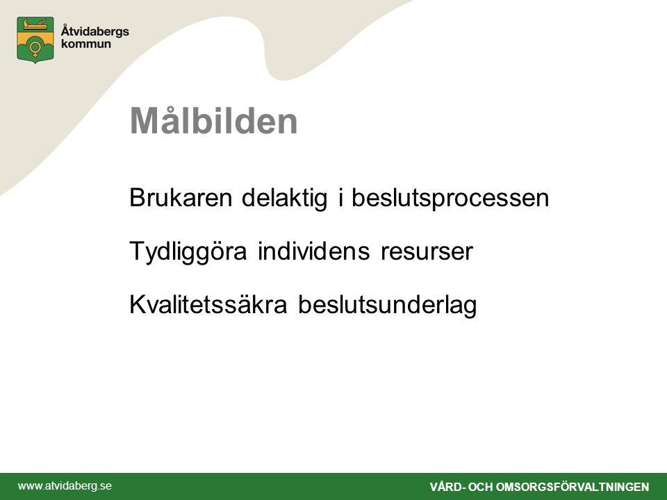 www.atvidaberg.se VÅRD- OCH OMSORGSFÖRVALTNINGEN Målbilden Brukaren delaktig i beslutsprocessen Tydliggöra individens resurser Kvalitetssäkra beslutsunderlag