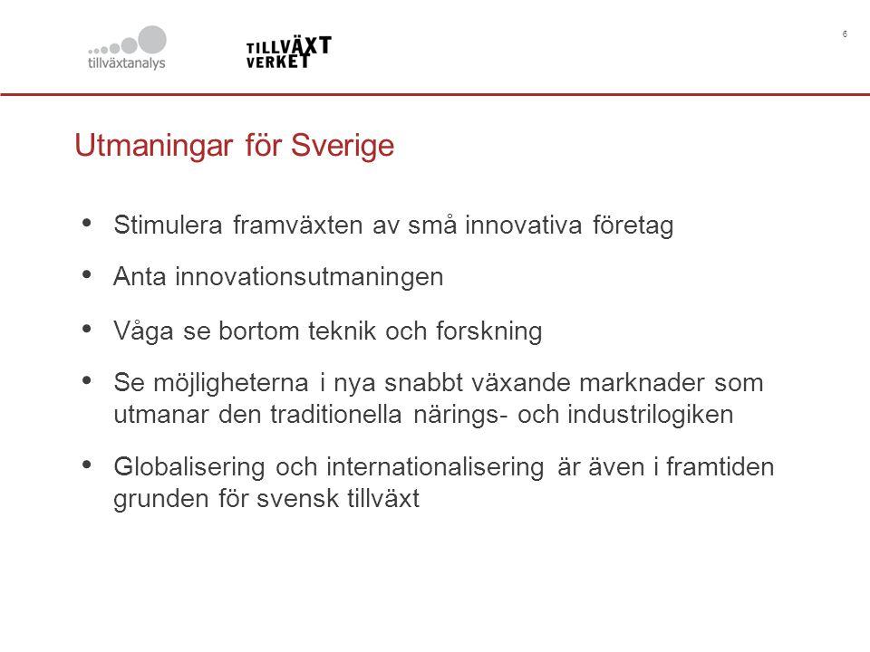 6 Utmaningar för Sverige Stimulera framväxten av små innovativa företag Anta innovationsutmaningen Våga se bortom teknik och forskning Se möjligheterna i nya snabbt växande marknader som utmanar den traditionella närings- och industrilogiken Globalisering och internationalisering är även i framtiden grunden för svensk tillväxt
