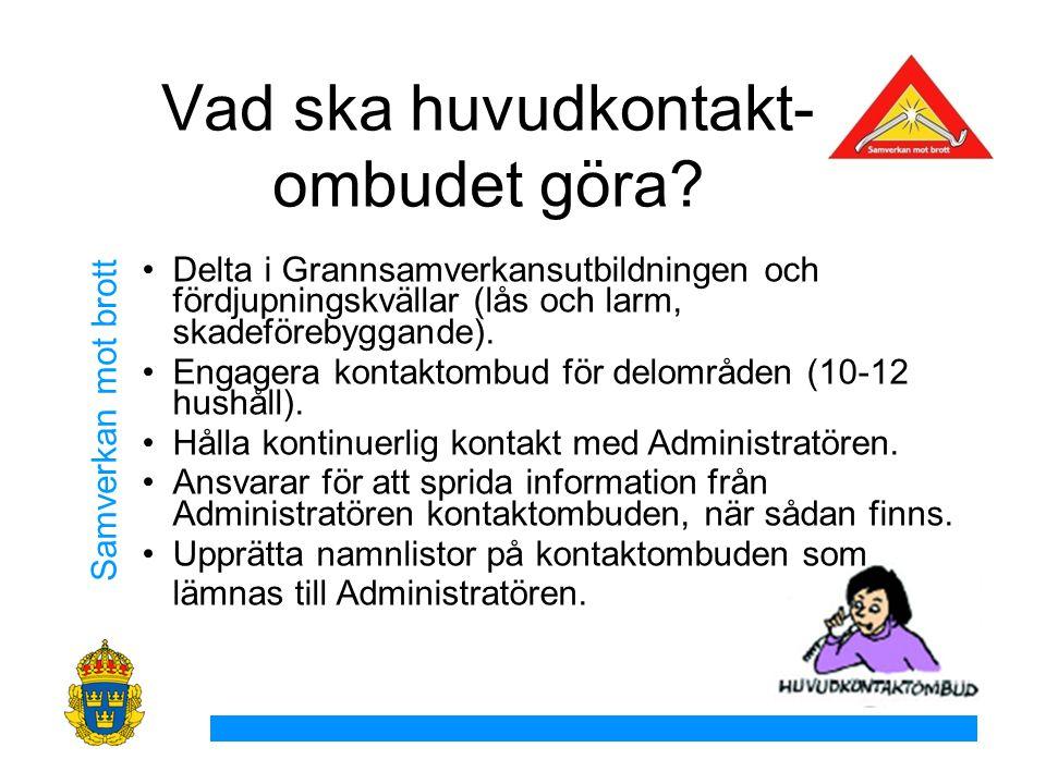 Samverkan mot brott Delta i Grannsamverkansutbildningen och fördjupningskvällar (lås och larm, skadeförebyggande).
