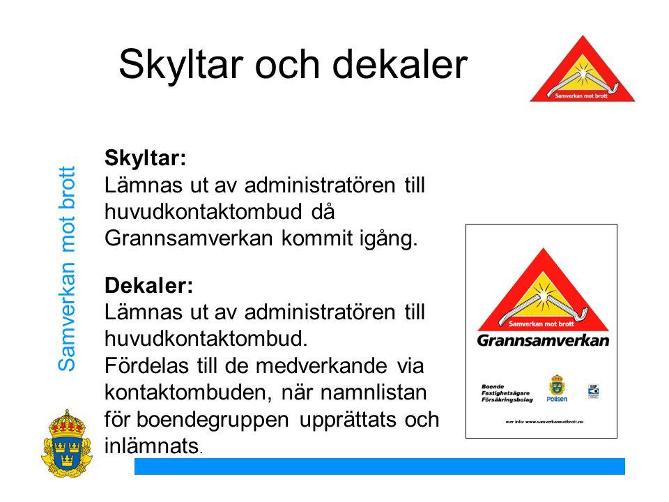 Samverkan mot brott Skyltar och dekaler Skyltar: Lämnas ut av administratören till huvudkontaktombud då Grannsamverkan kommit igång.