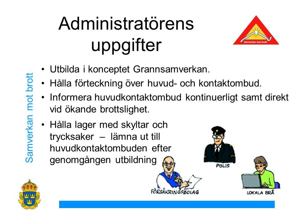 Samverkan mot brott Administratörens uppgifter Utbilda i konceptet Grannsamverkan.