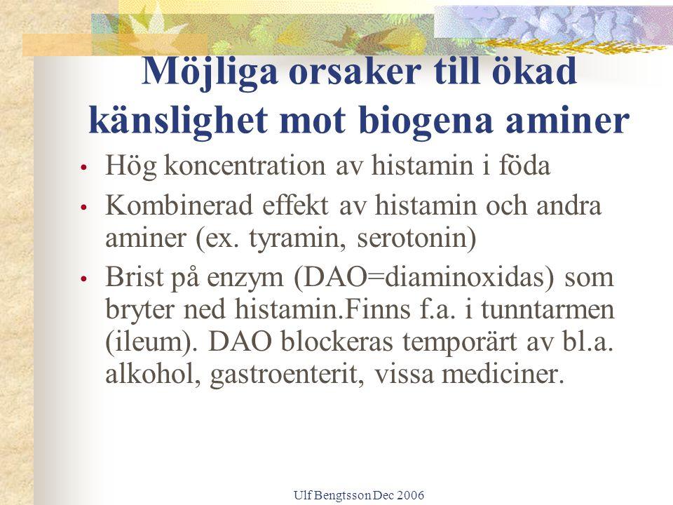 Ulf Bengtsson Dec 2006 Möjliga orsaker till ökad känslighet mot biogena aminer Hög koncentration av histamin i föda Kombinerad effekt av histamin och andra aminer (ex.