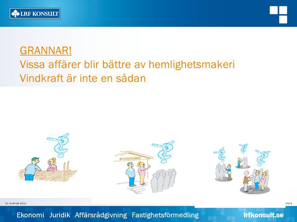SIDA 8 Ekonomi Juridik Affärsrådgivning Fastighetsförmedling lrfkonsult.se 21 november 2014Sören Dahl© LRF KONSULT GRANNAR.