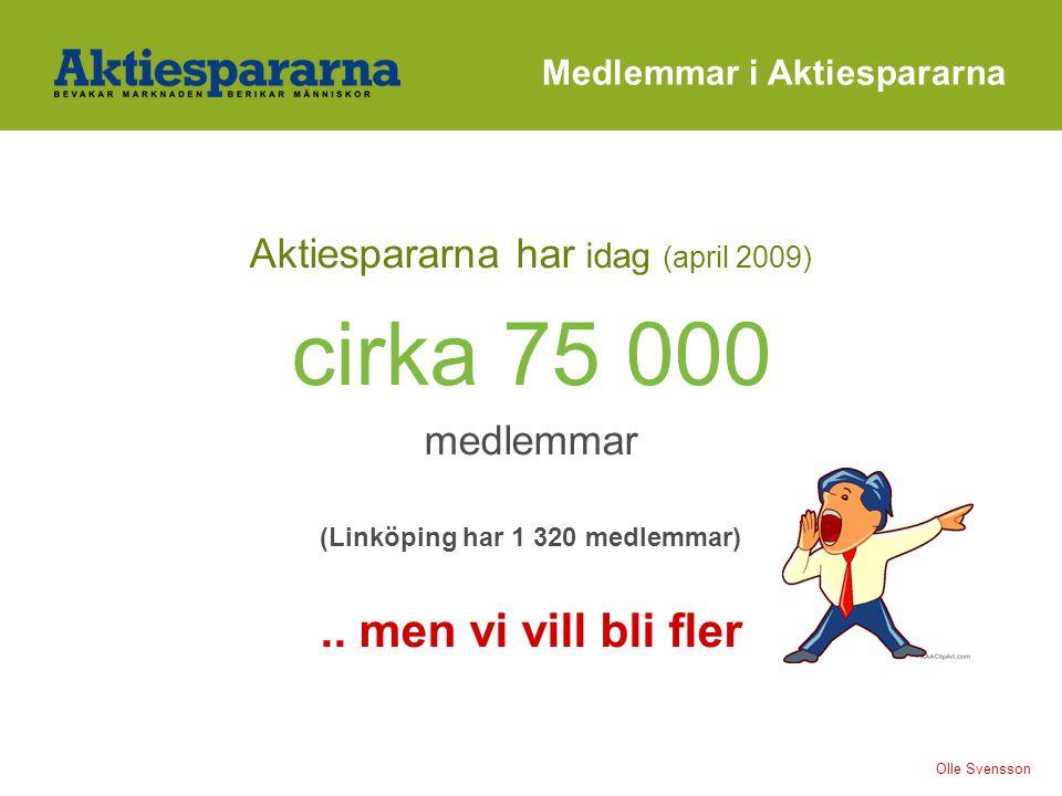 Medlemmar i Aktiespararna Aktiespararna har idag (april 2009) cirka 75 000 medlemmar (Linköping har 1 320 medlemmar).. men vi vill bli fler Olle Svens