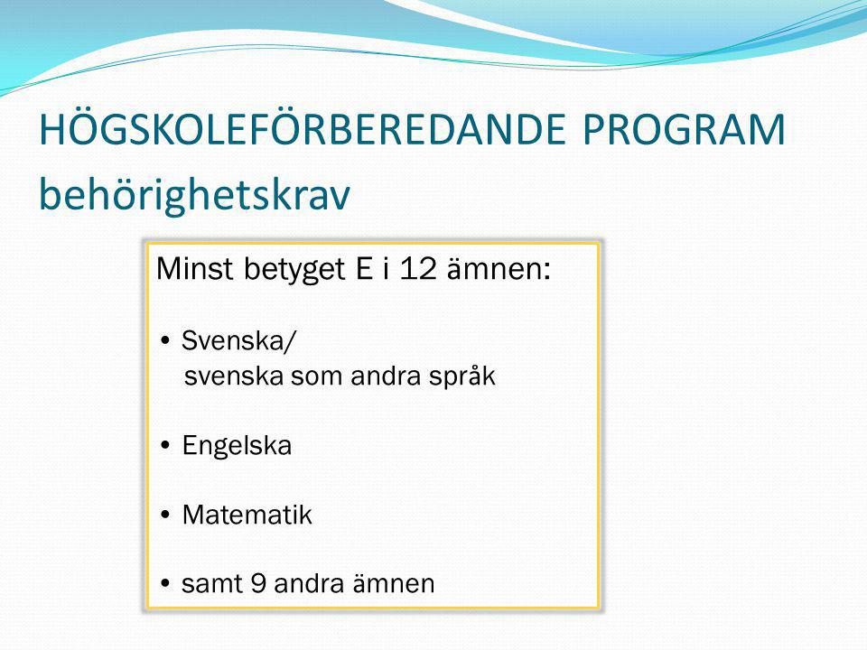 HÖGSKOLEFÖRBEREDANDE PROGRAM behörighetskrav Minst betyget E i 12 ä mnen: Svenska/ svenska som andra spr å k Engelska Matematik samt 9 andra ä mnen
