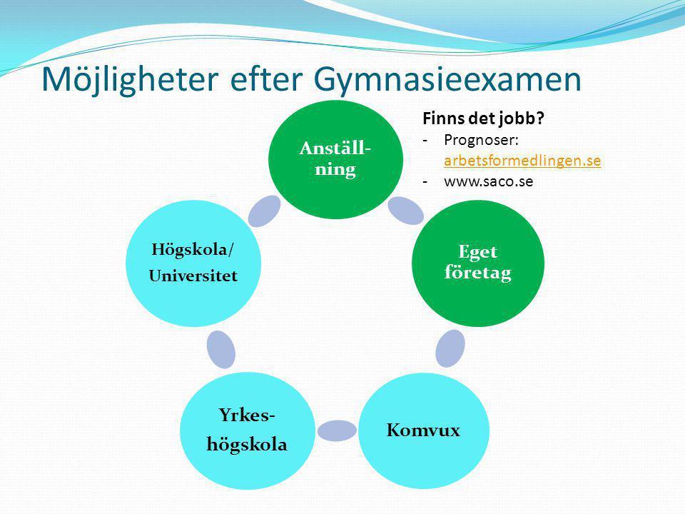 Anställ- ning Eget företag Komvux Yrkes- högskola Högskola/ Universitet Finns det jobb? -Prognoser: arbetsformedlingen.se arbetsformedlingen.se -www.s