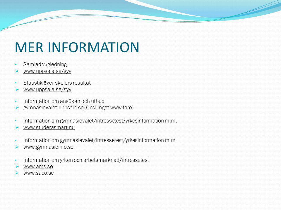 MER INFORMATION Samlad v ä gledning  www.uppsala.se/syv Statistik ö ver skolors resultat  www.uppsala.se/syv Information om ans ö kan och utbud  gy
