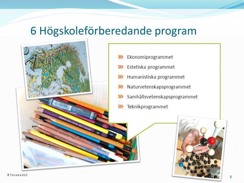 6 Högskoleförberedande program 8 Ekonomiprogrammet Estetiska programmet Humanistiska programmet Naturvetenskapsprogrammet Samhällsvetenskapsprogrammet