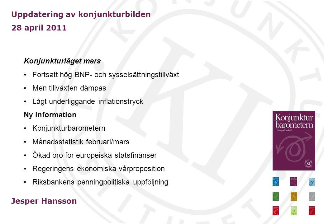 Uppdatering av konjunkturbilden 28 april 2011 Jesper Hansson Konjunkturläget mars Fortsatt hög BNP- och sysselsättningstillväxt Men tillväxten dämpas