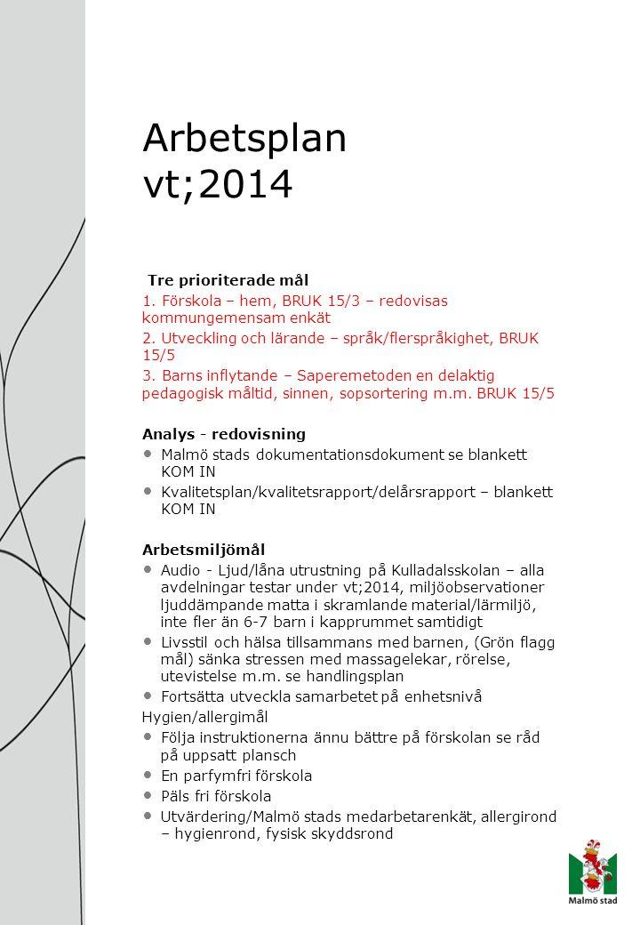 Arbetsplan vt;2014 Tre prioriterade mål 1. Förskola – hem, BRUK 15/3 – redovisas kommungemensam enkät 2. Utveckling och lärande – språk/flerspråkighet