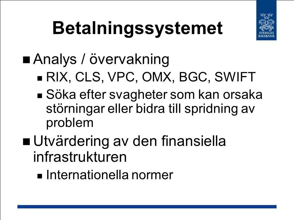 Betalningssystemet Analys / övervakning RIX, CLS, VPC, OMX, BGC, SWIFT Söka efter svagheter som kan orsaka störningar eller bidra till spridning av problem Utvärdering av den finansiella infrastrukturen Internationella normer