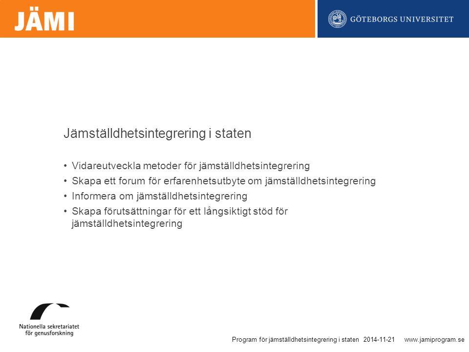 www.jamiprogram.se Vidareutveckla metoder för jämställdhetsintegrering Skapa ett forum för erfarenhetsutbyte om jämställdhetsintegrering Informera om jämställdhetsintegrering Skapa förutsättningar för ett långsiktigt stöd för jämställdhetsintegrering Jämställdhetsintegrering i staten 2014-11-21Program för jämställdhetsintegrering i staten