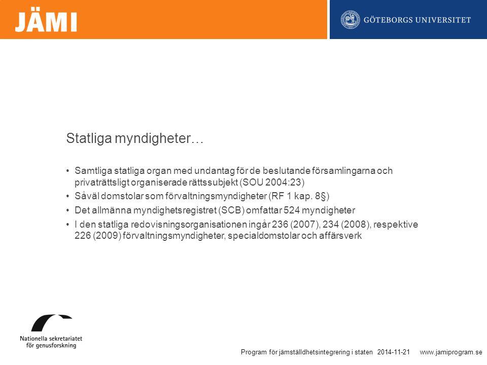www.jamiprogram.se Samtliga statliga organ med undantag för de beslutande församlingarna och privaträttsligt organiserade rättssubjekt (SOU 2004:23) Såväl domstolar som förvaltningsmyndigheter (RF 1 kap.