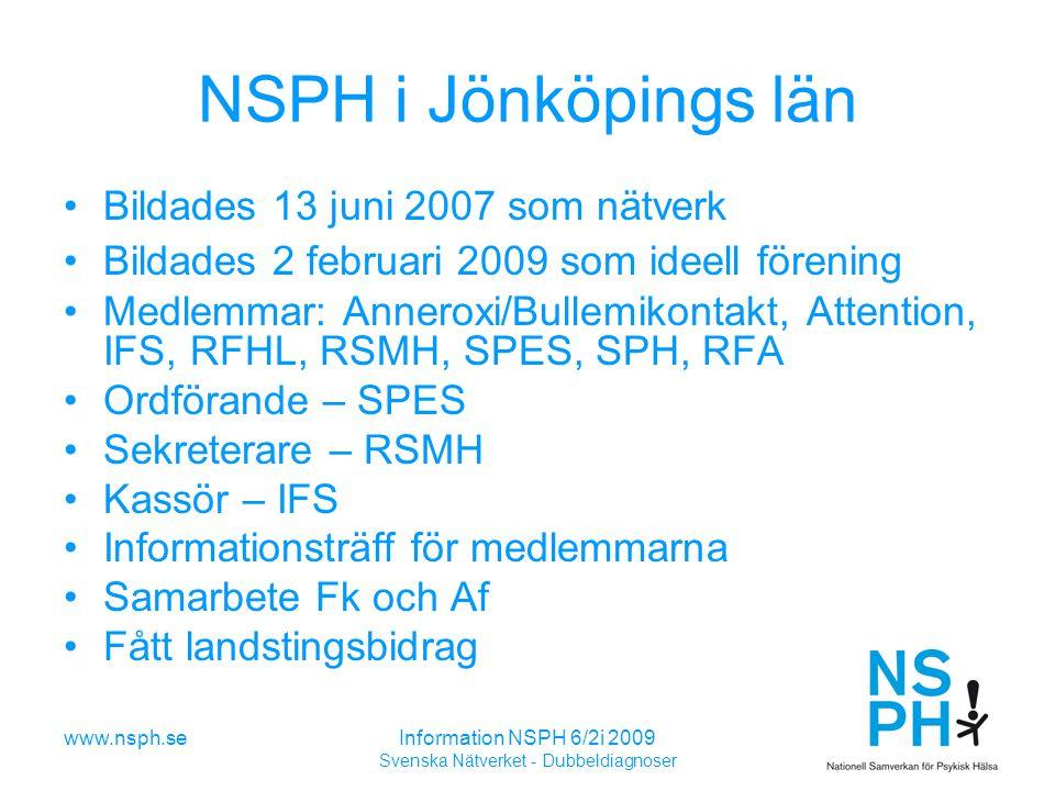 www.nsph.seInformation NSPH 6/2i 2009 Svenska Nätverket - Dubbeldiagnoser NSPH i Jönköpings län Bildades 13 juni 2007 som nätverk Bildades 2 februari 2009 som ideell förening Medlemmar: Anneroxi/Bullemikontakt, Attention, IFS, RFHL, RSMH, SPES, SPH, RFA Ordförande – SPES Sekreterare – RSMH Kassör – IFS Informationsträff för medlemmarna Samarbete Fk och Af Fått landstingsbidrag