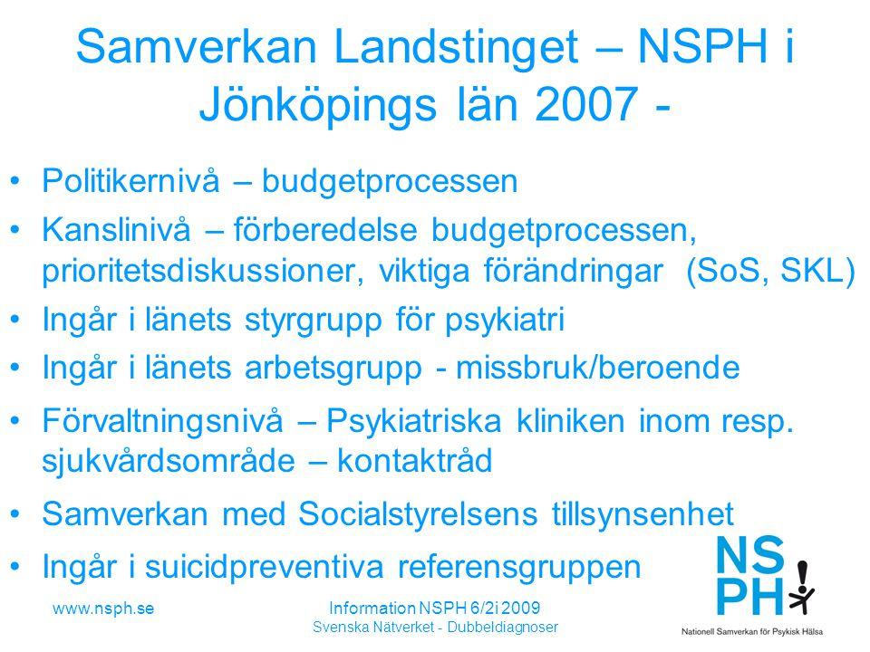 www.nsph.seInformation NSPH 6/2i 2009 Svenska Nätverket - Dubbeldiagnoser Samverkan Landstinget – NSPH i Jönköpings län 2007 - Politikernivå – budgetprocessen Kanslinivå – förberedelse budgetprocessen, prioritetsdiskussioner, viktiga förändringar (SoS, SKL) Ingår i länets styrgrupp för psykiatri Ingår i länets arbetsgrupp - missbruk/beroende Förvaltningsnivå – Psykiatriska kliniken inom resp.