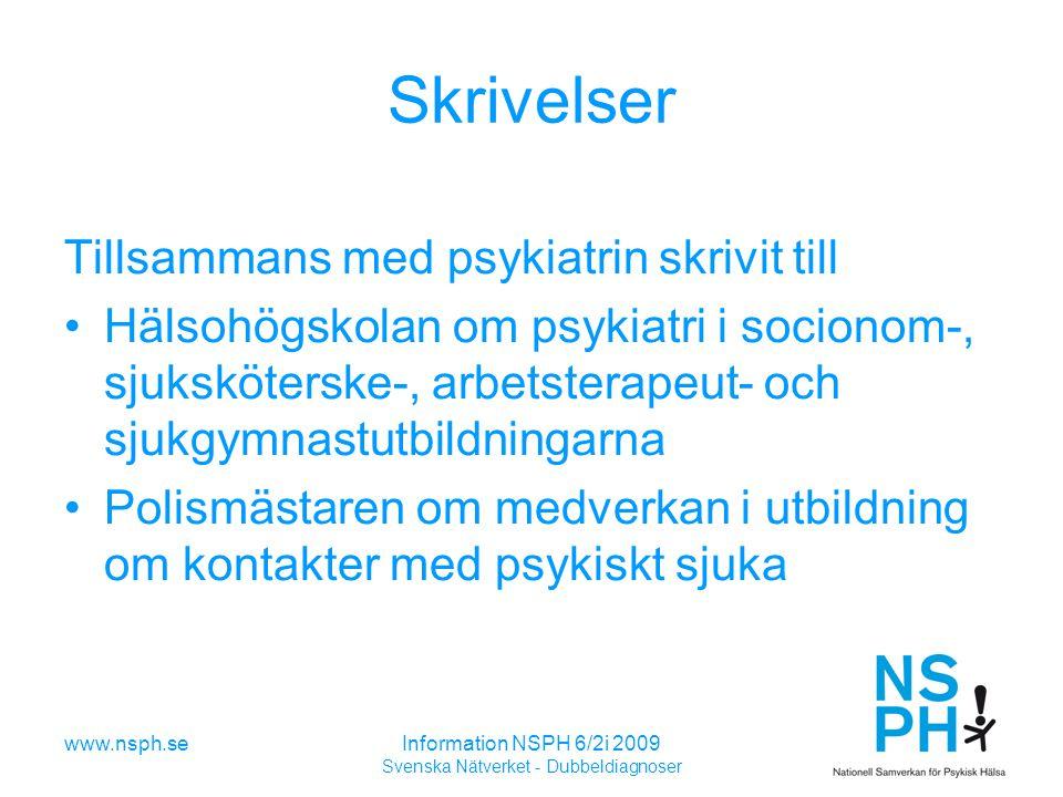 www.nsph.seInformation NSPH 6/2i 2009 Svenska Nätverket - Dubbeldiagnoser Skrivelser Tillsammans med psykiatrin skrivit till Hälsohögskolan om psykiatri i socionom-, sjuksköterske-, arbetsterapeut- och sjukgymnastutbildningarna Polismästaren om medverkan i utbildning om kontakter med psykiskt sjuka