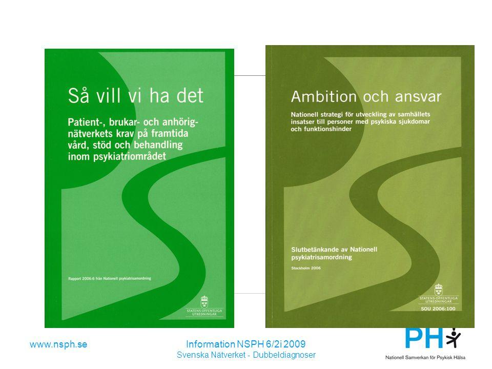 www.nsph.seInformation NSPH 6/2i 2009 Svenska Nätverket - Dubbeldiagnoser Arbetsformer Rosenhälsan Huskvarna Identifiera målgruppen Förbättra omhändertagande och bemötande Fokus både på patient och närstående Uppmärksamma de med många vårdkontakter