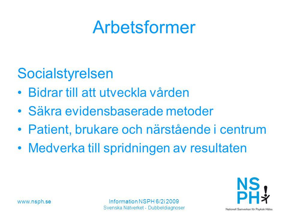 www.nsph.seInformation NSPH 6/2i 2009 Svenska Nätverket - Dubbeldiagnoser Arbetsformer Socialstyrelsen Bidrar till att utveckla vården Säkra evidensbaserade metoder Patient, brukare och närstående i centrum Medverka till spridningen av resultaten