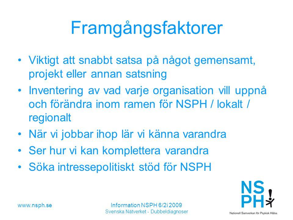 www.nsph.seInformation NSPH 6/2i 2009 Svenska Nätverket - Dubbeldiagnoser Framgångsfaktorer Viktigt att snabbt satsa på något gemensamt, projekt eller annan satsning Inventering av vad varje organisation vill uppnå och förändra inom ramen för NSPH / lokalt / regionalt När vi jobbar ihop lär vi känna varandra Ser hur vi kan komplettera varandra Söka intressepolitiskt stöd för NSPH