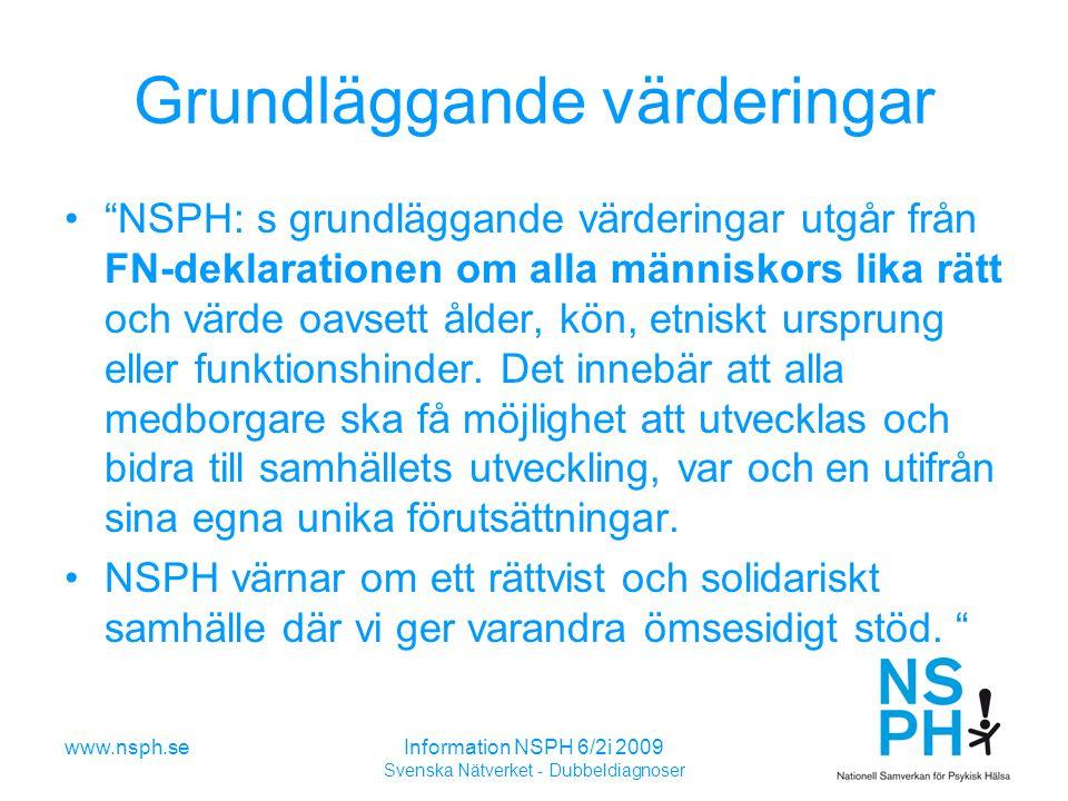 www.nsph.seInformation NSPH 6/2i 2009 Svenska Nätverket - Dubbeldiagnoser Grundläggande värderingar NSPH: s grundläggande värderingar utgår från FN-deklarationen om alla människors lika rätt och värde oavsett ålder, kön, etniskt ursprung eller funktionshinder.