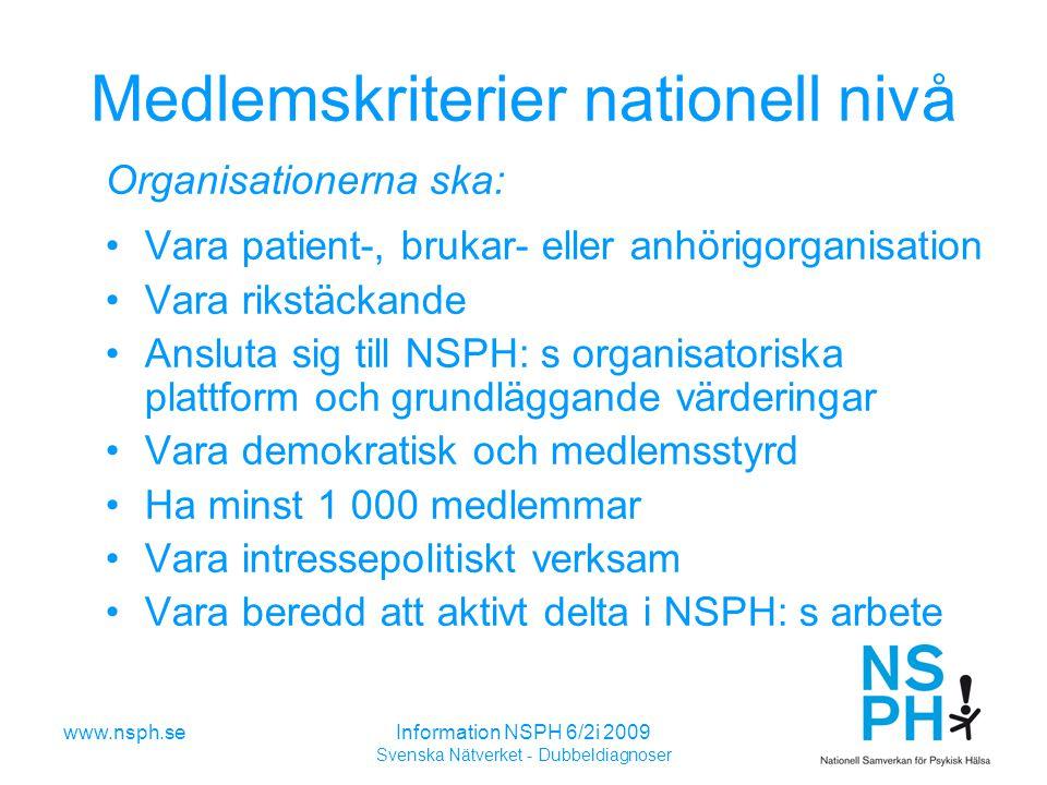 www.nsph.seInformation NSPH 6/2i 2009 Svenska Nätverket - Dubbeldiagnoser Medlemskriterier nationell nivå Organisationerna ska: Vara patient-, brukar- eller anhörigorganisation Vara rikstäckande Ansluta sig till NSPH: s organisatoriska plattform och grundläggande värderingar Vara demokratisk och medlemsstyrd Ha minst 1 000 medlemmar Vara intressepolitiskt verksam Vara beredd att aktivt delta i NSPH: s arbete
