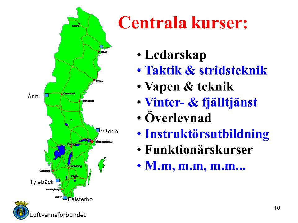 Luftvärnsförbundet 10 Ånn Tylebäck Falsterbo Väddö Centrala kurser: Ledarskap Taktik & stridsteknik Vapen & teknik Vinter- & fjälltjänst Överlevnad In