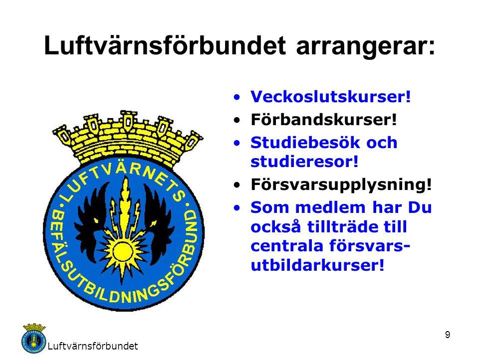 Luftvärnsförbundet 9 Luftvärnsförbundet arrangerar: Veckoslutskurser! Förbandskurser! Studiebesök och studieresor! Försvarsupplysning! Som medlem har
