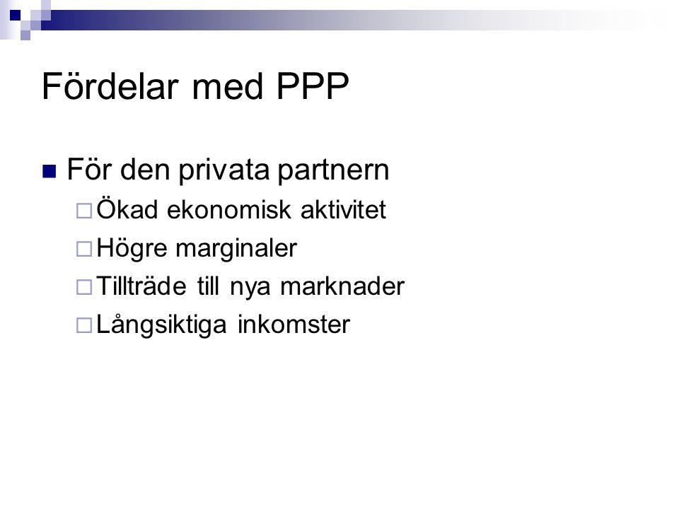 Fördelar med PPP För den privata partnern  Ökad ekonomisk aktivitet  Högre marginaler  Tillträde till nya marknader  Långsiktiga inkomster