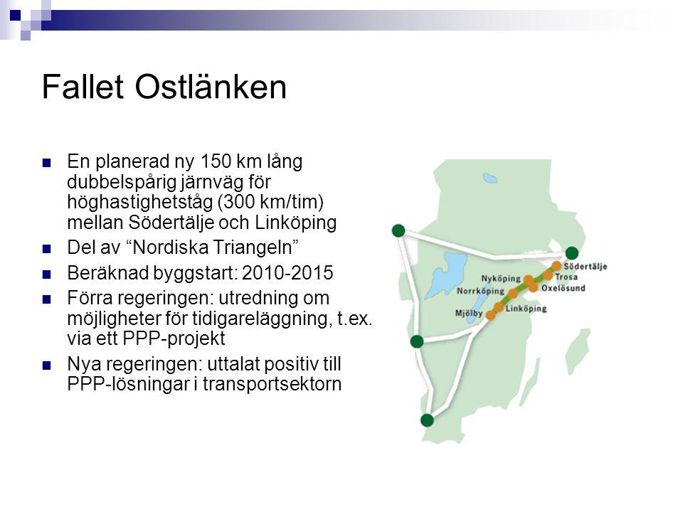 """Fallet Ostlänken En planerad ny 150 km lång dubbelspårig järnväg för höghastighetståg (300 km/tim) mellan Södertälje och Linköping Del av """"Nordiska Tr"""