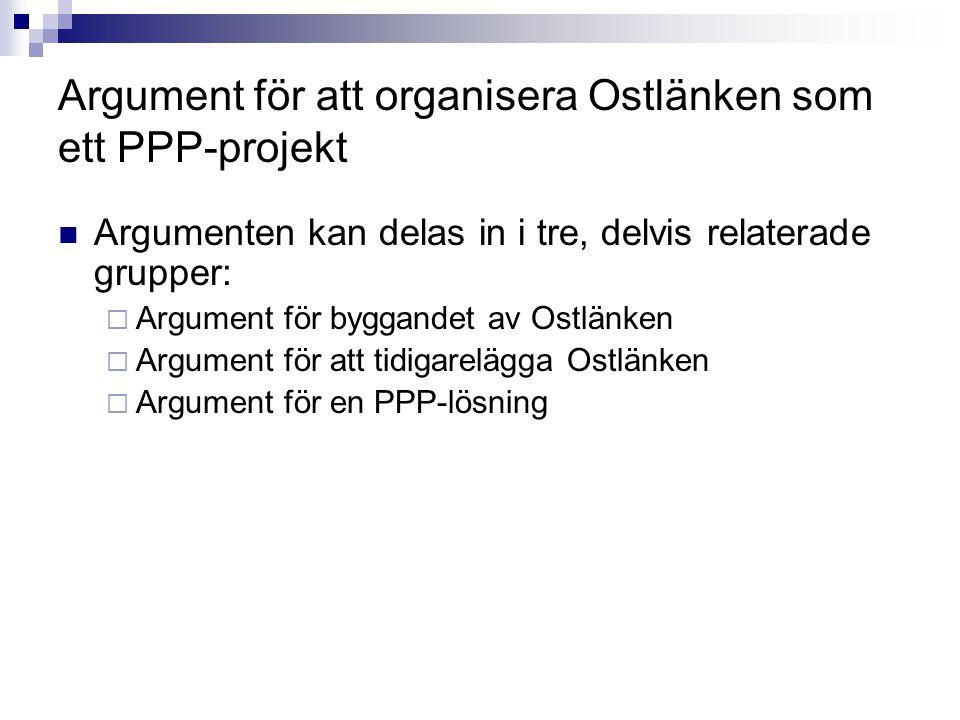 Argument för att organisera Ostlänken som ett PPP-projekt Argumenten kan delas in i tre, delvis relaterade grupper:  Argument för byggandet av Ostlän