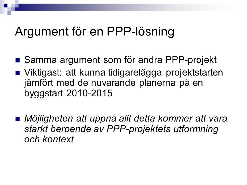 Argument för en PPP-lösning Samma argument som för andra PPP-projekt Viktigast: att kunna tidigarelägga projektstarten jämfört med de nuvarande planer