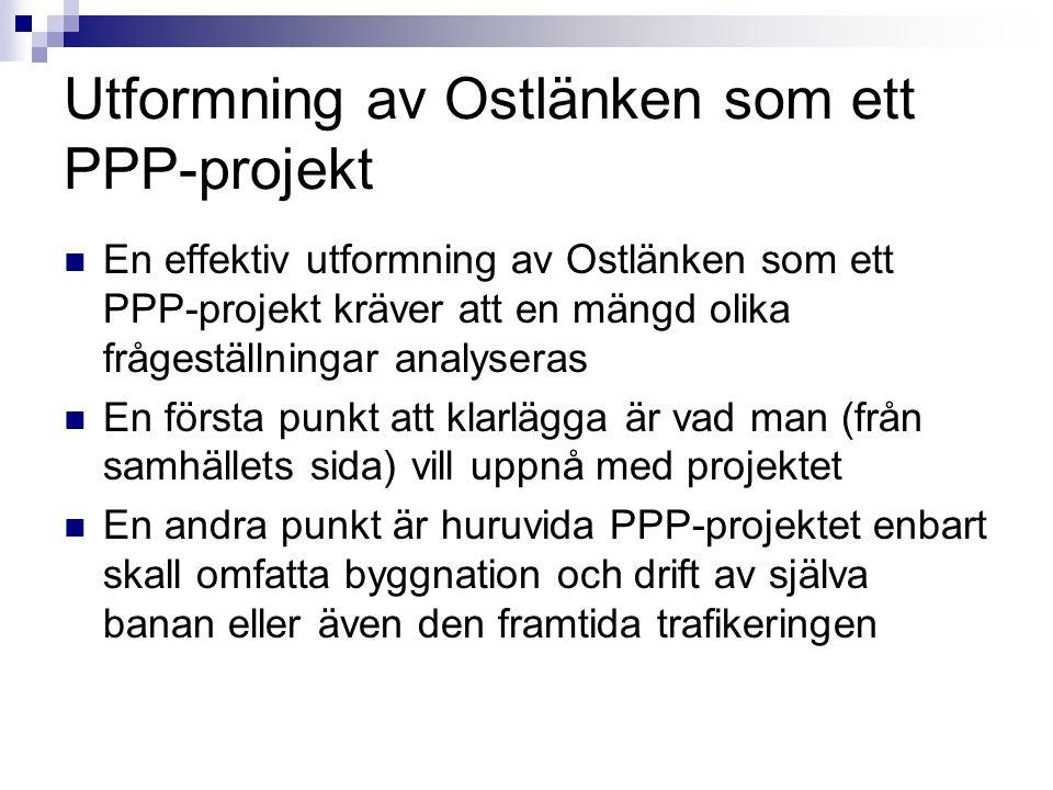 Utformning av Ostlänken som ett PPP-projekt En effektiv utformning av Ostlänken som ett PPP-projekt kräver att en mängd olika frågeställningar analyse
