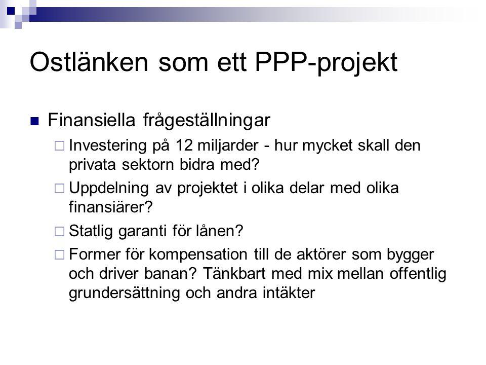 Ostlänken som ett PPP-projekt Finansiella frågeställningar  Investering på 12 miljarder - hur mycket skall den privata sektorn bidra med?  Uppdelnin
