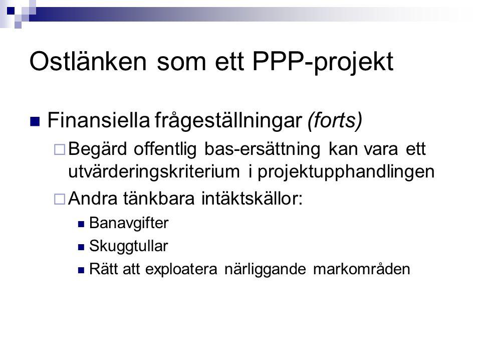 Ostlänken som ett PPP-projekt Finansiella frågeställningar (forts)  Begärd offentlig bas-ersättning kan vara ett utvärderingskriterium i projektuppha