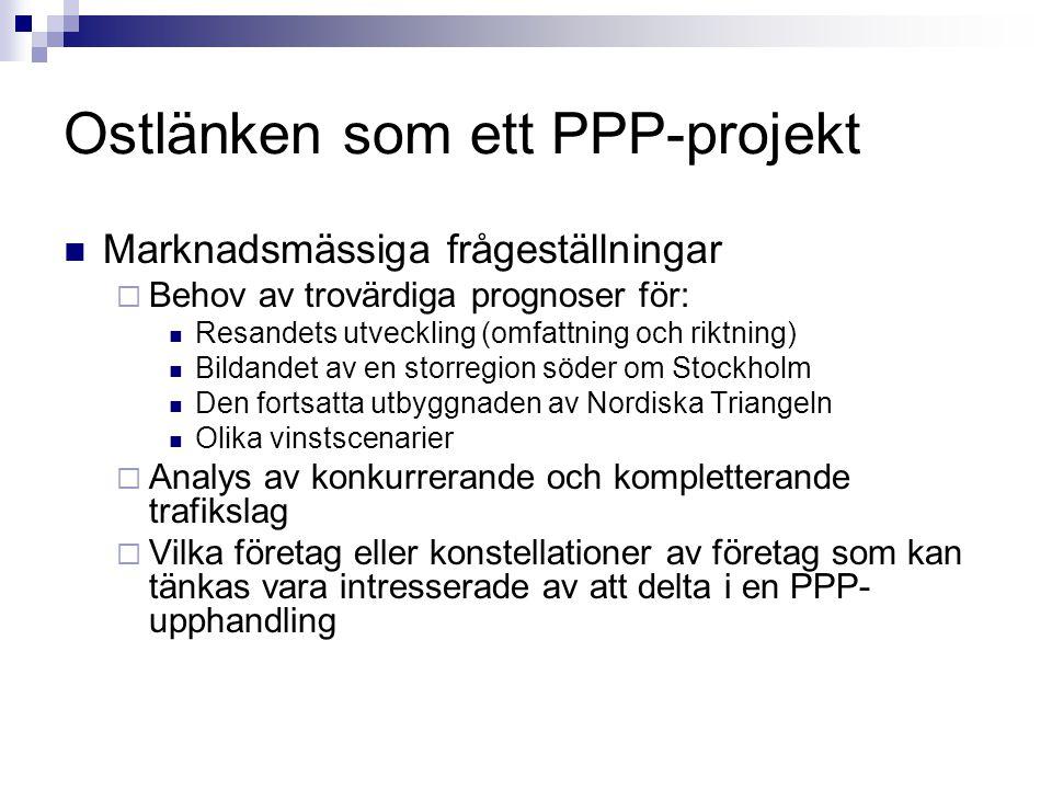 Ostlänken som ett PPP-projekt Marknadsmässiga frågeställningar  Behov av trovärdiga prognoser för: Resandets utveckling (omfattning och riktning) Bil