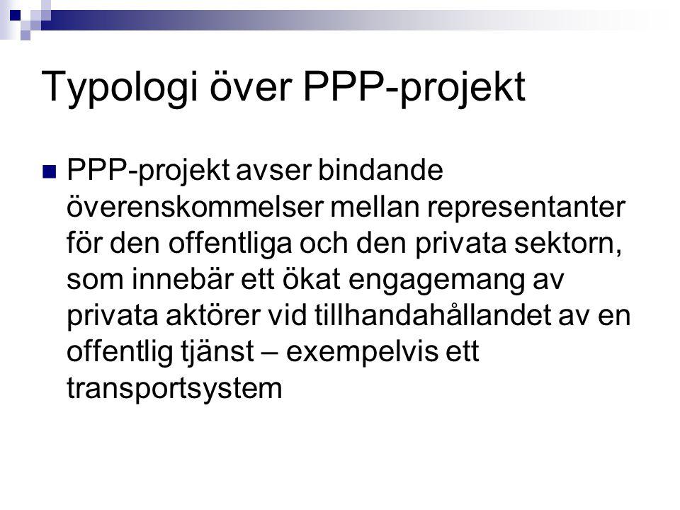 Typologi över PPP-projekt PPP-projekt avser bindande överenskommelser mellan representanter för den offentliga och den privata sektorn, som innebär et