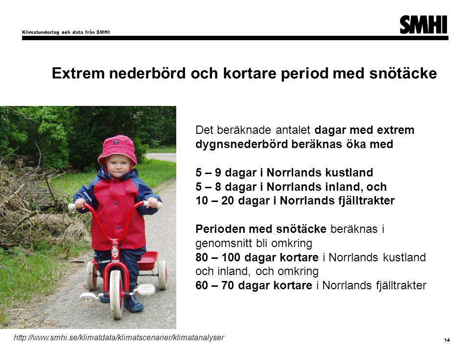 Klimatunderlag och data från SMHI 14 För Sveriges del pekar klimatscenarierna i huvudsak på: Extrem nederbörd och kortare period med snötäcke Det beräknade antalet dagar med extrem dygnsnederbörd beräknas öka med 5 – 9 dagar i Norrlands kustland 5 – 8 dagar i Norrlands inland, och 10 – 20 dagar i Norrlands fjälltrakter Perioden med snötäcke beräknas i genomsnitt bli omkring 80 – 100 dagar kortare i Norrlands kustland och inland, och omkring 60 – 70 dagar kortare i Norrlands fjälltrakter http://www.smhi.se/klimatdata/klimatscenarier/klimatanalyser