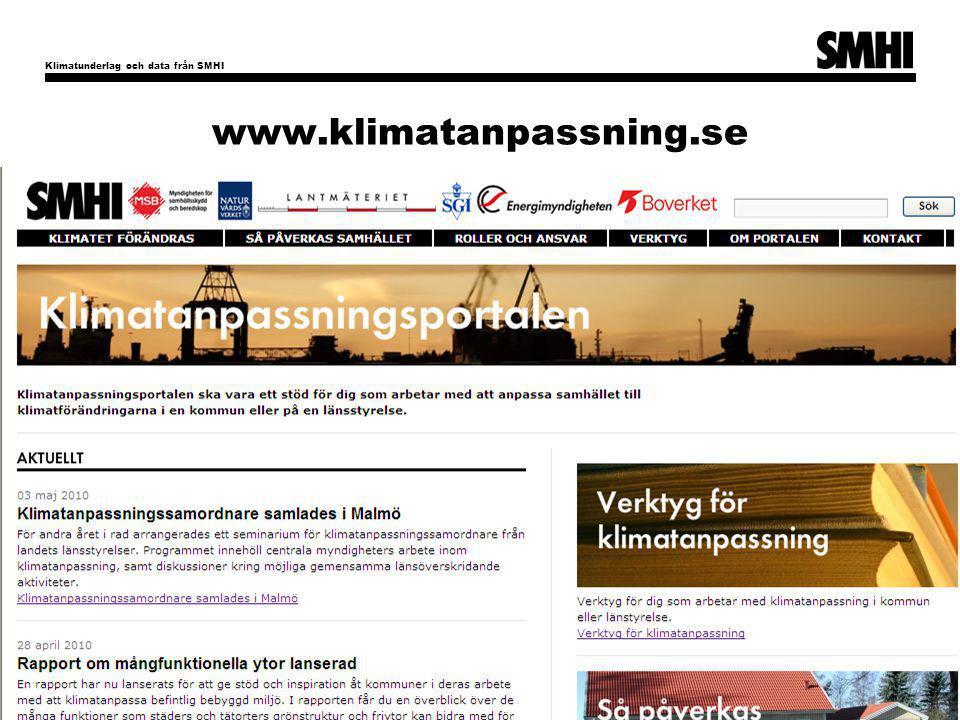 Klimatunderlag och data från SMHI 26 www.klimatanpassning.se