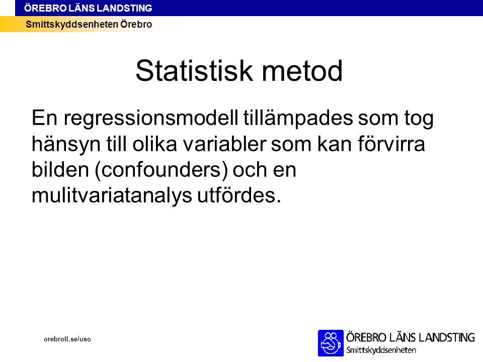 Smittskyddsenheten Örebro ÖREBRO LÄNS LANDSTING Statistisk metod En regressionsmodell tillämpades som tog hänsyn till olika variabler som kan förvirra