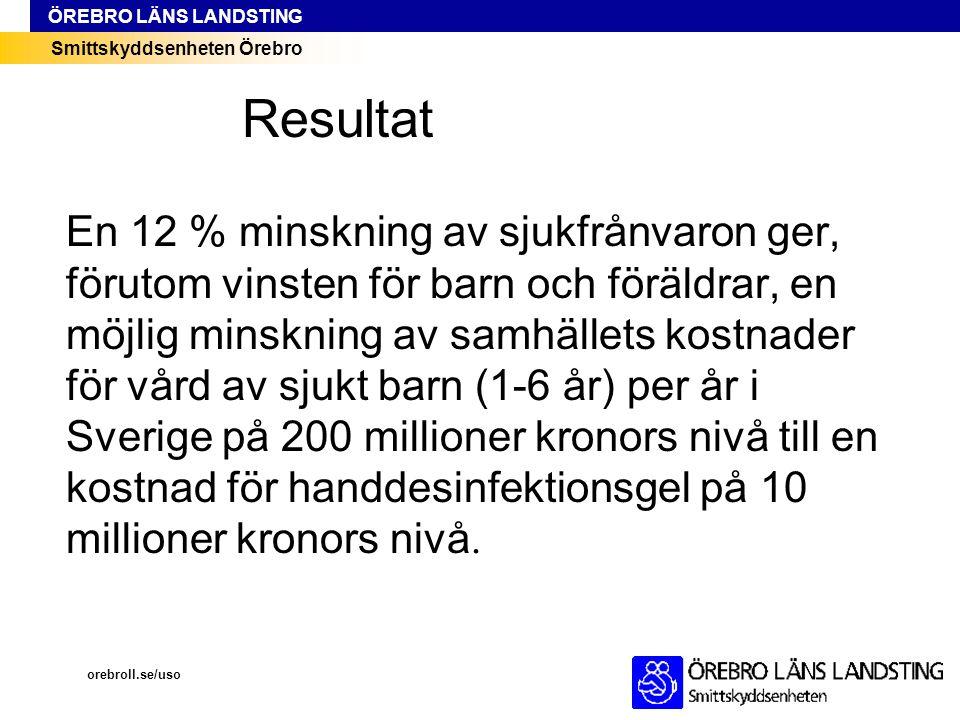 Smittskyddsenheten Örebro ÖREBRO LÄNS LANDSTING En 12 % minskning av sjukfrånvaron ger, förutom vinsten för barn och föräldrar, en möjlig minskning av