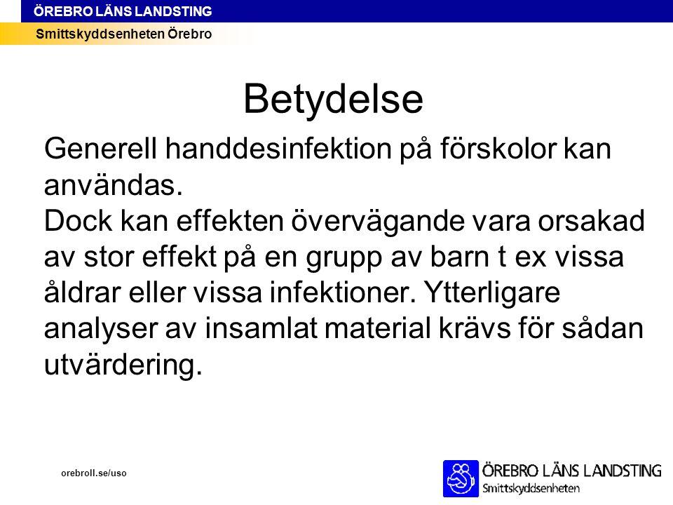 Smittskyddsenheten Örebro ÖREBRO LÄNS LANDSTING Betydelse Generell handdesinfektion på förskolor kan användas. Dock kan effekten övervägande vara orsa