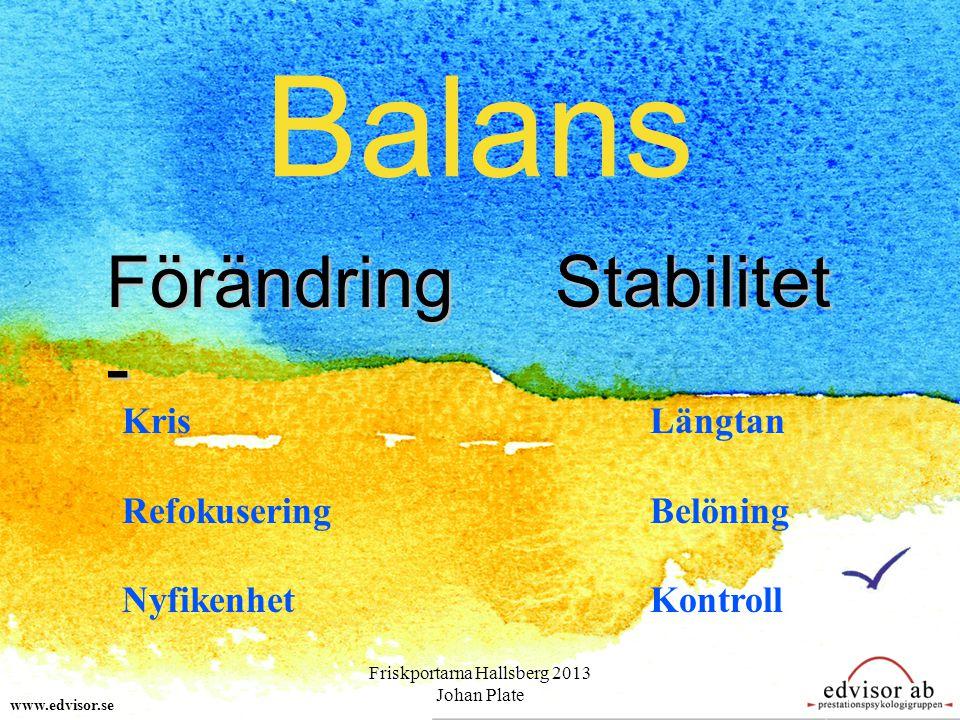 Balans www.edvisor.se Förändring - Stabilitet Kris Refokusering Nyfikenhet Längtan Belöning Kontroll Friskportarna Hallsberg 2013 Johan Plate